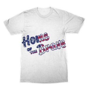 Home Of The Brave Usa Flag Sublimation T-Shirt Apparel Flagdesignproducts.com