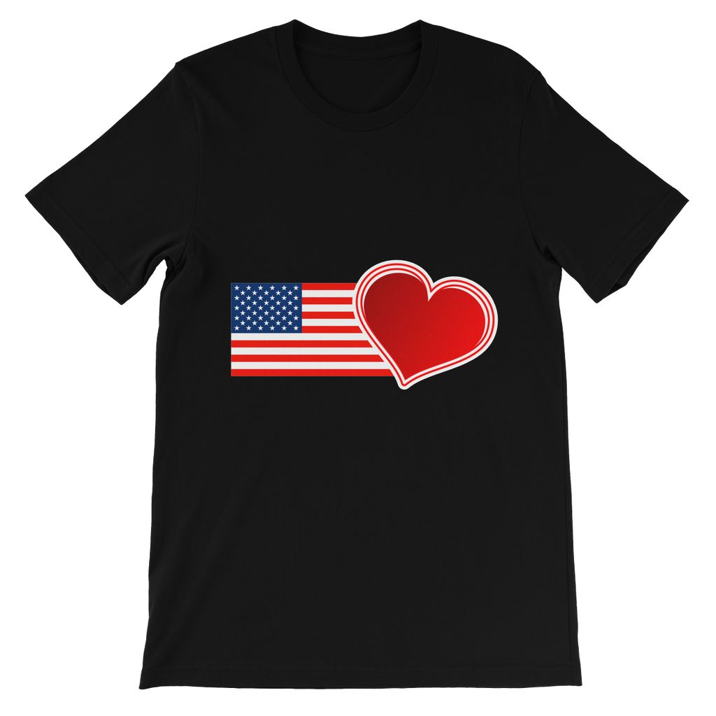 USA Flag and Heart Kids' T-Shirt