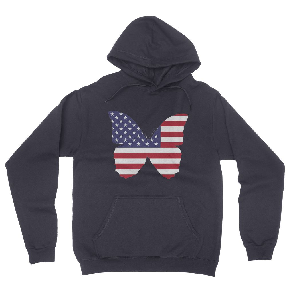 USA Flag Butterfly California Fleece Pullover Hoodie