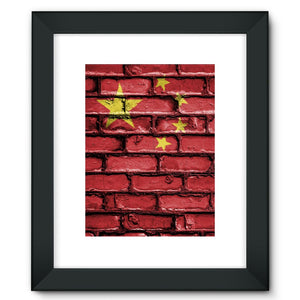 China Stone Brick Wall Flag Framed Fine Art Print Decor Flagdesignproducts.com