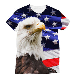American Eagle And Usa Flag Sublimation T-Shirt Apparel Flagdesignproducts.com