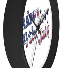 4Th July Usa Text Flag Wall Clock Home Decor Flagdesignproducts.com