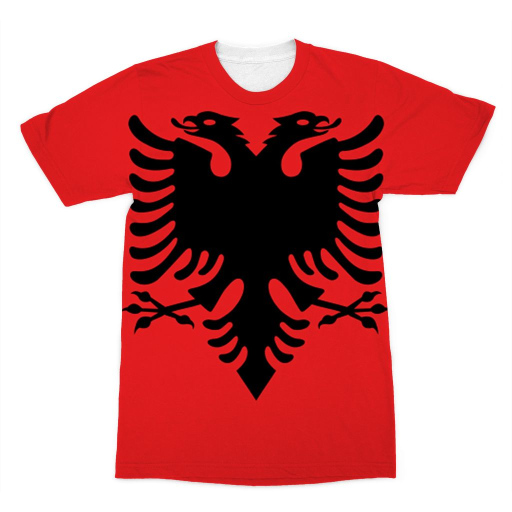 National Flag Of Albania Sublimation T-Shirt Apparel Flagdesignproducts.com