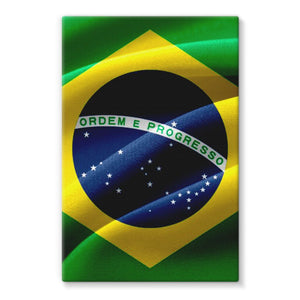 Waving Fabric Brazil Flag Stretched Canvas Wall Decor Flagdesignproducts.com