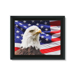 American Eagle And Usa Flag Framed Canvas Wall Decor Flagdesignproducts.com
