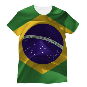 Brazil Waving Fabric Flag Sublimation T-Shirt Apparel Flagdesignproducts.com