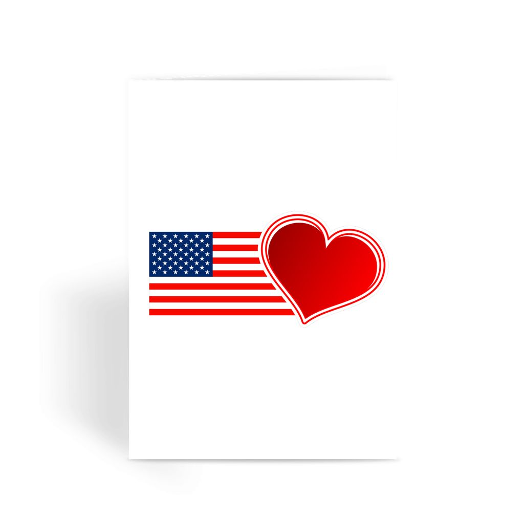 Usa Flag And Heart Greeting Card Prints Flagdesignproducts.com