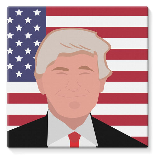 Donald Trump And Usa Flag Stretched Eco-Canvas Wall Decor Flagdesignproducts.com