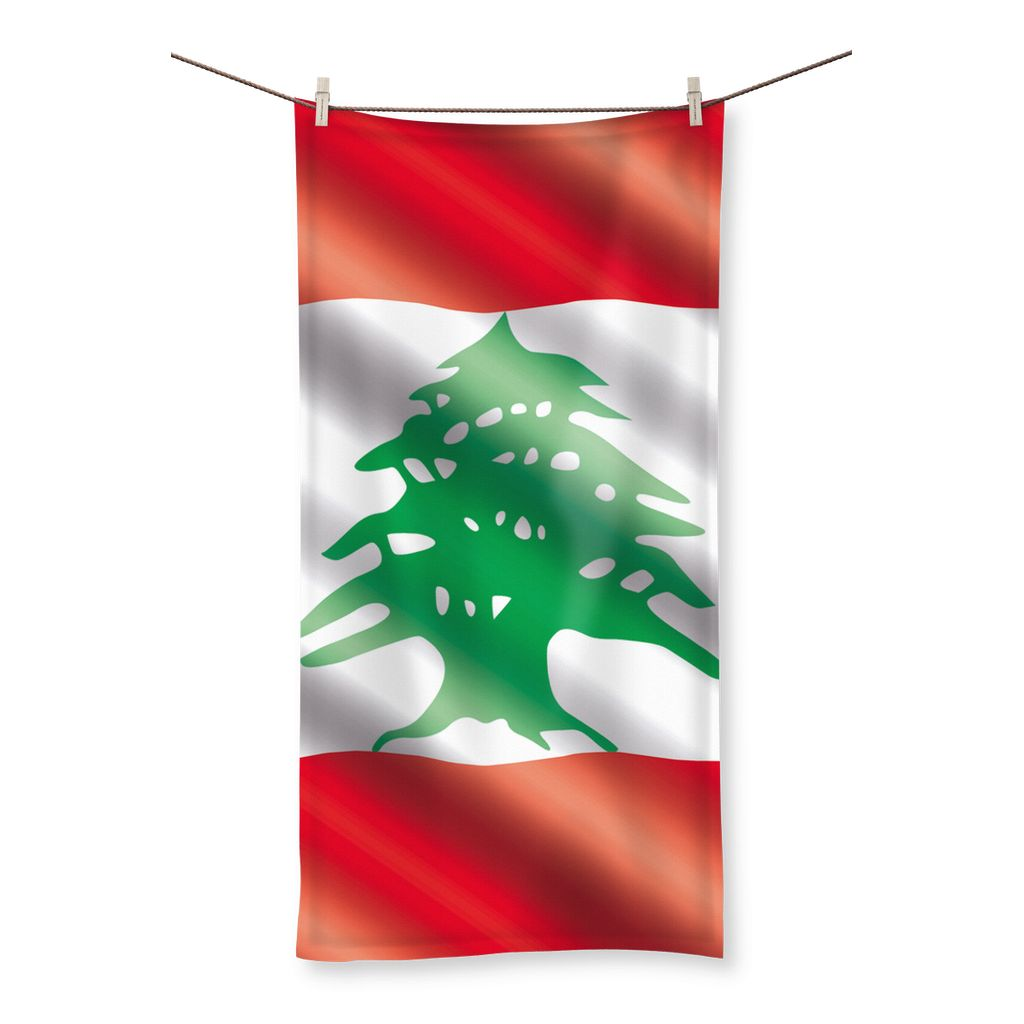 Waving Lebanon Flag Beach Towel Homeware Flagdesignproducts.com