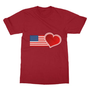 Usa Flag And Heart Softstyle Ringspun T-Shirt Apparel Flagdesignproducts.com