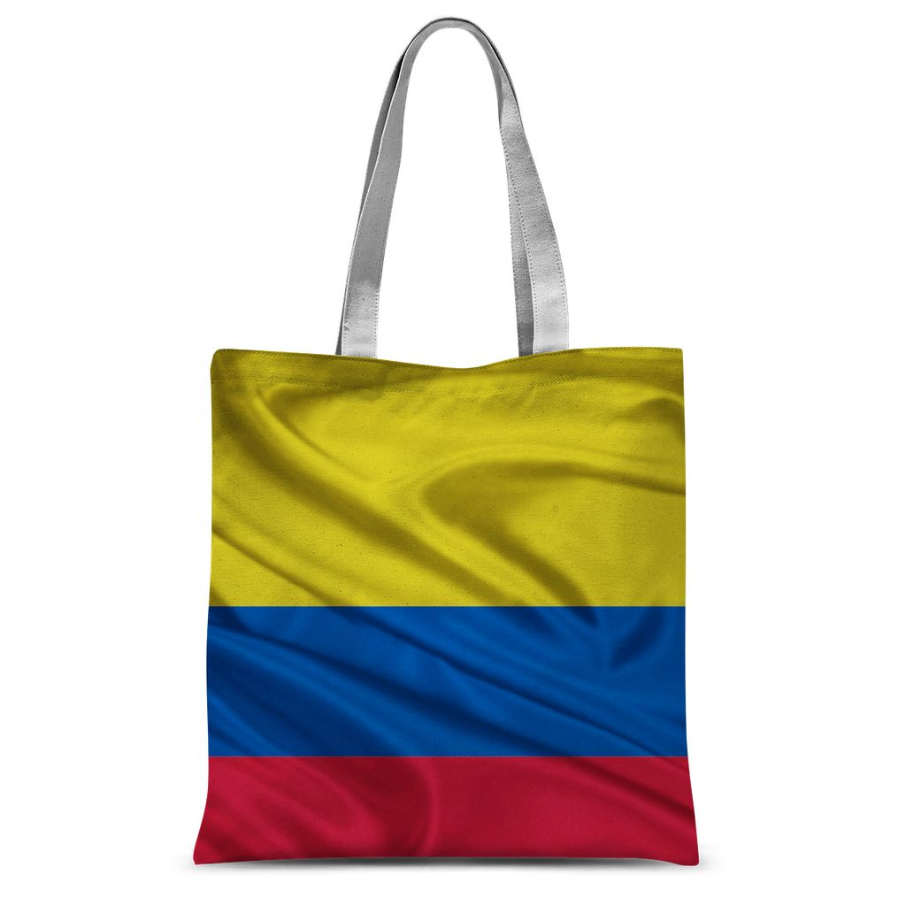 Waving Colombia Fabric Flag Sublimation Tote Bag Accessories Flagdesignproducts.com