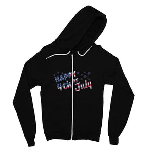 4Th July Usa Text Flag Fine Jersey Zip Hoodie Apparel Flagdesignproducts.com