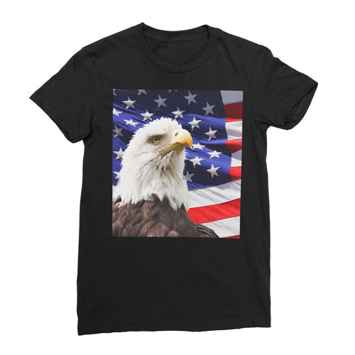 American Eagle And Usa Flag Womens Fine Jersey T-Shirt Apparel Flagdesignproducts.com