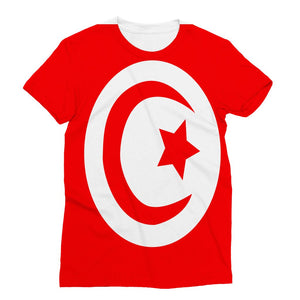 Flag Of Tunisia Sublimation T-Shirt Apparel Flagdesignproducts.com