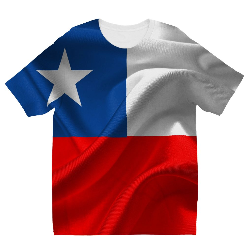Waving Chile Flag Kids Sublimation T-Shirt Apparel Flagdesignproducts.com