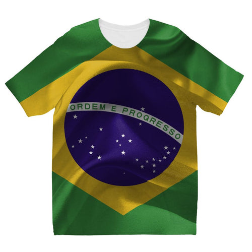 Brazil Waving Fabric Flag Kids Sublimation T-Shirt Apparel Flagdesignproducts.com