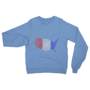 Usa Text Continent Flag Heavy Blend Crew Neck Sweatshirt Apparel Flagdesignproducts.com