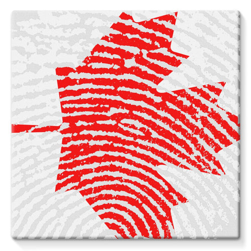 Canada Finger Print Flag Stretched Canvas Wall Decor Flagdesignproducts.com