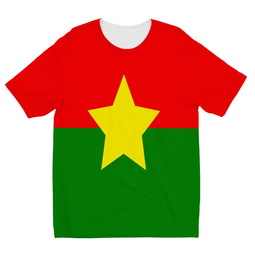 Flag Of Burkina Faso Kids Sublimation T-Shirt Apparel Flagdesignproducts.com
