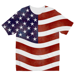 Waving Old Usa Flag Kids Sublimation T-Shirt Apparel Flagdesignproducts.com