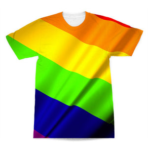 Waving Rainbow Lgbt Flag Sublimation T-Shirt Apparel Flagdesignproducts.com