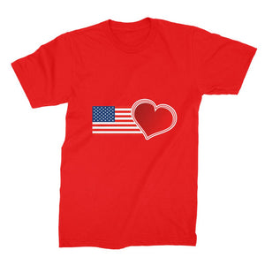 Usa Flag And Heart Unisex Fine Jersey T-Shirt Apparel Flagdesignproducts.com