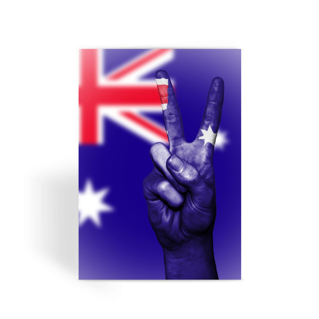 Australia Flag And Hand Greeting Card Prints Flagdesignproducts.com