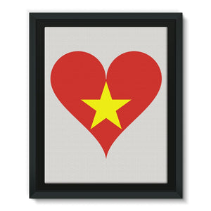 Vietnam Heart Flag Framed Eco-Canvas Wall Decor Flagdesignproducts.com
