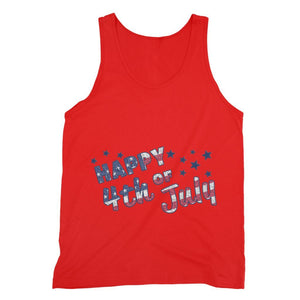 4Th July Usa Text Flag Fine Jersey Tank Top Apparel Flagdesignproducts.com