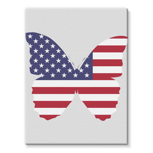 Usa Flag Butterfly Stretched Eco-Canvas Wall Decor Flagdesignproducts.com