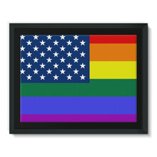 Colorful Usa Rainbow Flag Framed Canvas Wall Decor Flagdesignproducts.com