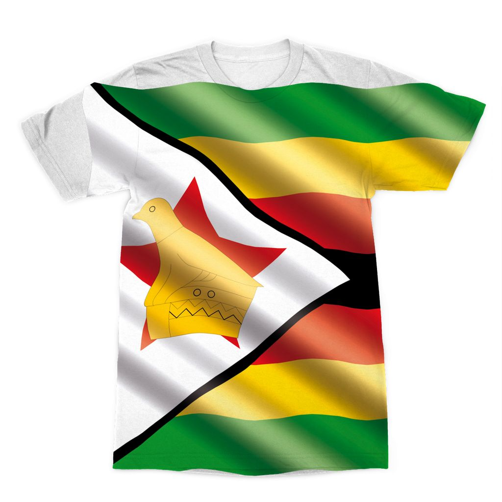 Waving Zimbabwe Flag Sublimation T-Shirt Apparel Flagdesignproducts.com