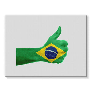 Brazil Hand Flag Stretched Canvas Wall Decor Flagdesignproducts.com
