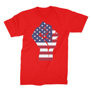 America First Hand Flag Unisex Fine Jersey T-Shirt Apparel Flagdesignproducts.com