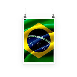 Waving Fabric Brazil Flag Poster Wall Decor Flagdesignproducts.com
