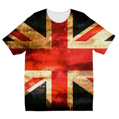 Dark Uk Flag Kids Sublimation T-Shirt Apparel Flagdesignproducts.com
