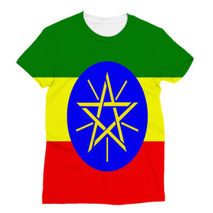 Flag Of Ethiopia Sublimation T-Shirt Apparel Flagdesignproducts.com