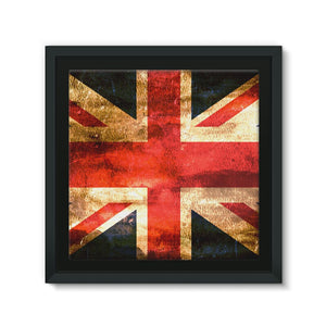 Dark Uk Flag Framed Eco-Canvas Wall Decor Flagdesignproducts.com