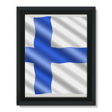 Waving Finland Flag Framed Canvas Wall Decor Flagdesignproducts.com