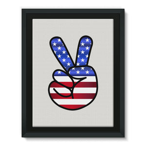 America Fingers Flag Framed Eco-Canvas Wall Decor Flagdesignproducts.com