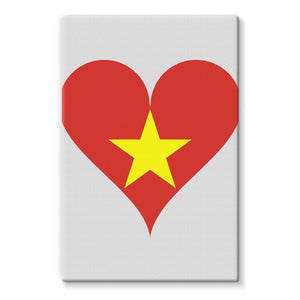 Vietnam Heart Flag Stretched Eco-Canvas Wall Decor Flagdesignproducts.com