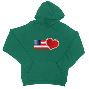 Usa Flag And Heart College Hoodie Apparel Flagdesignproducts.com