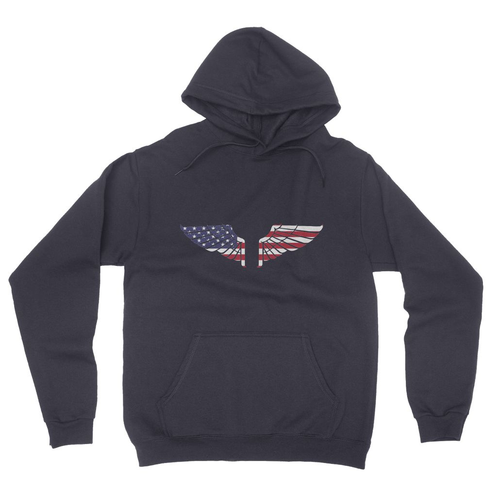 America USA Wings Flag California Fleece Pullover Hoodie