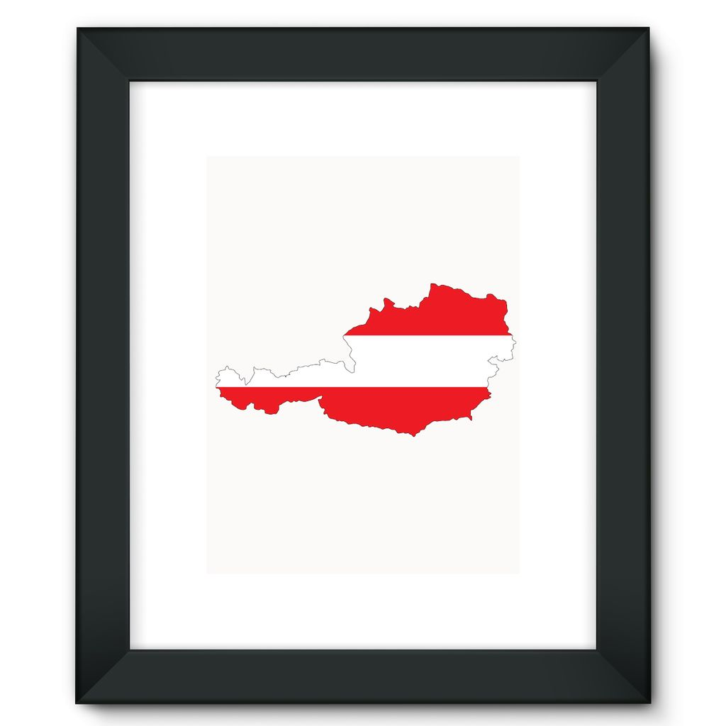 Austria Continent Flag Framed Fine Art Print Wall Decor Flagdesignproducts.com