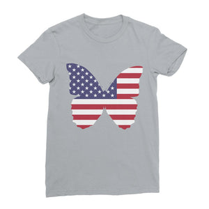 Usa Flag Butterfly Womens Fine Jersey T-Shirt Apparel Flagdesignproducts.com