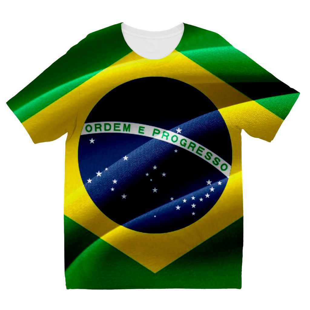 Waving Fabric Brazil Flag Kids Sublimation T-Shirt Apparel Flagdesignproducts.com