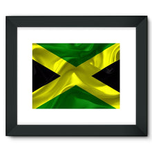 Waving Jamaica Flag Framed Fine Art Print Wall Decor Flagdesignproducts.com