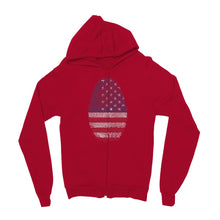 Usa Flag Finger Print Kids Zip Hoodie Apparel Flagdesignproducts.com