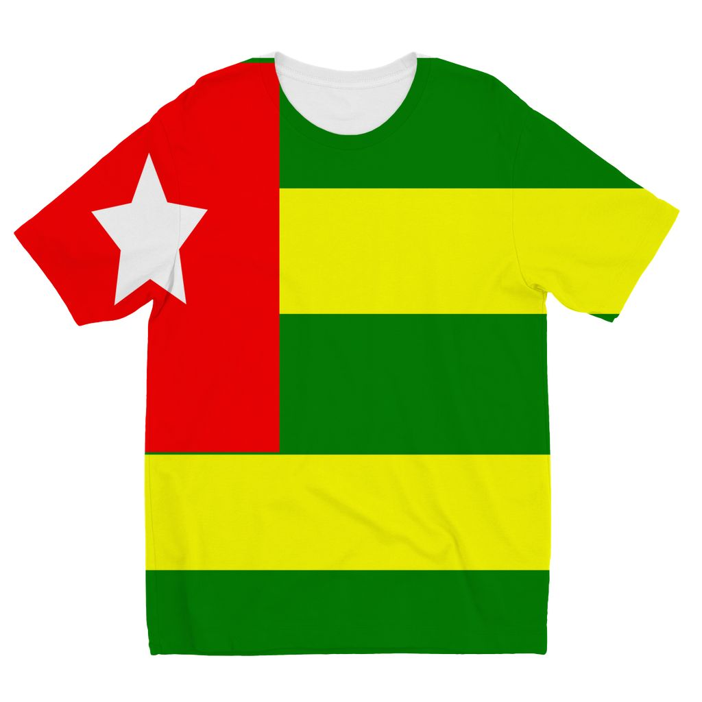 Flag Of Togo Kids Sublimation T-Shirt Apparel Flagdesignproducts.com