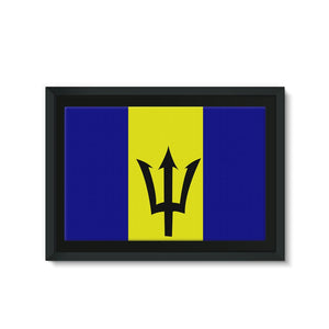 Flag Of Barbados Framed Eco-Canvas Wall Decor Flagdesignproducts.com